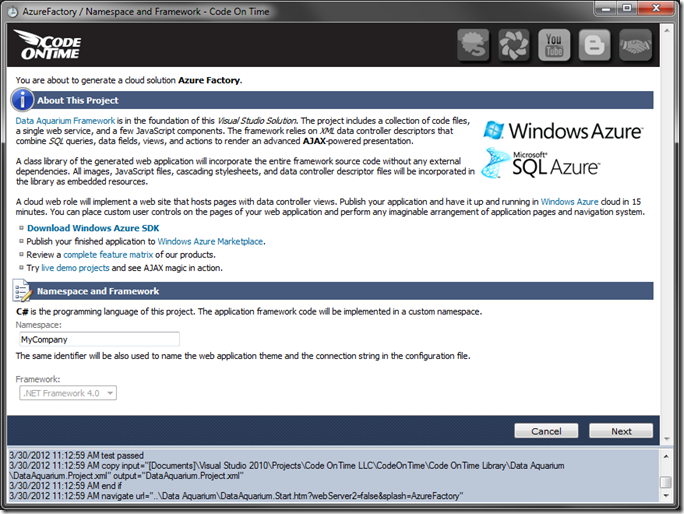 New Windows Azure Project screen