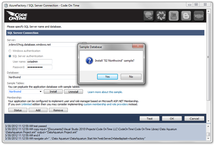 Installing Northwind sample from Code On Time web application generator