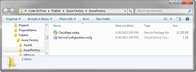 Published Azure Factory packages ready for deployment