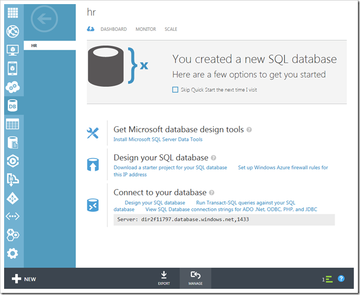 Manage the selected database button in Windows Azure Platform