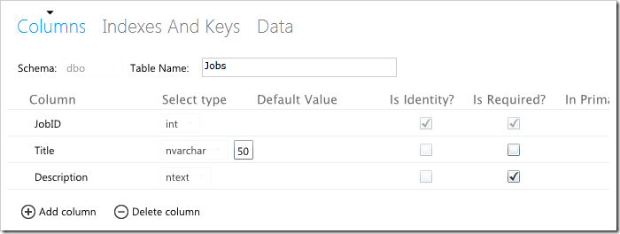 New Table button in Microsoft SQL Azure database management web app