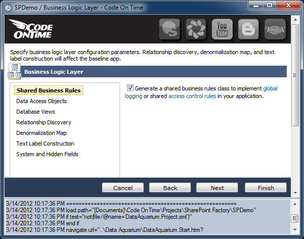 Enabling shared business rules in a Code On Time web application