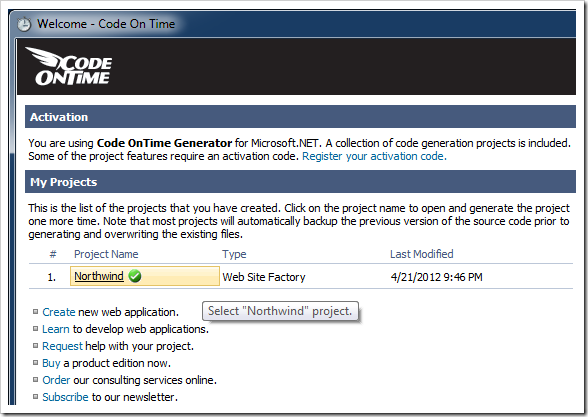 Selecting a project on the start page of Code On Time application generator