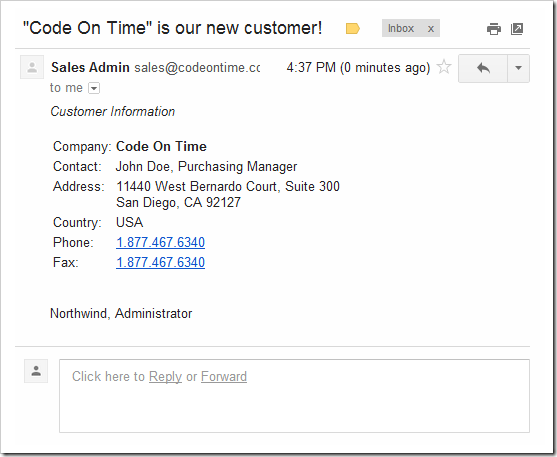 An email notification send by Email Business Rule when a new customer record is created in the database