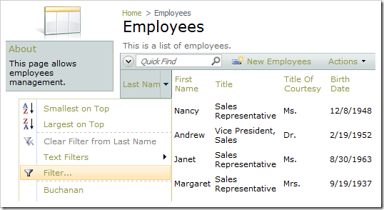 Multiple Value Filter option for Last Name column.