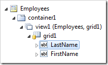 LastName data field of grid1 view of Employees page.
