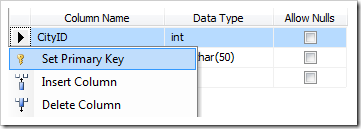 Set CityID column as a primary key of Cities table.