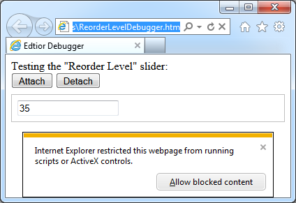 Html debugger displayed in Internet Explorer requires user to enable JavaScript execution