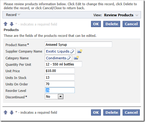 The standard input elements such lookup, dropdown, and text are rendered in the Products form view.
