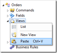 Pasting onto Views node of Orders controller.