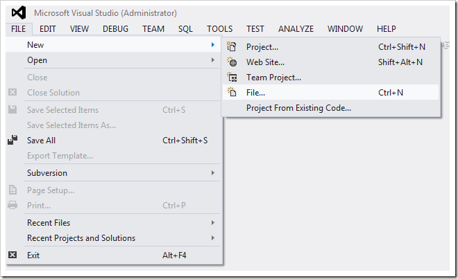 Opening a file in Visual Studio 2012.