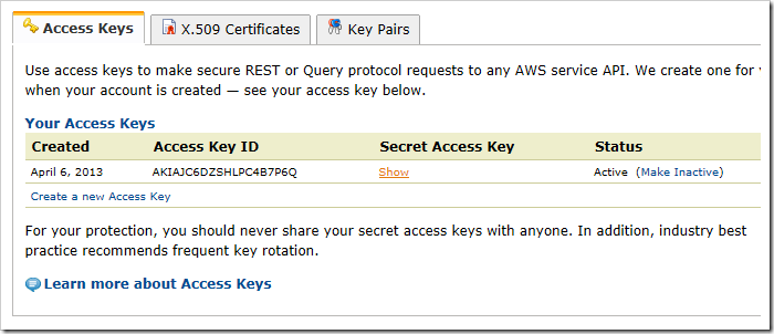 Getting the access key for Amazon S3.