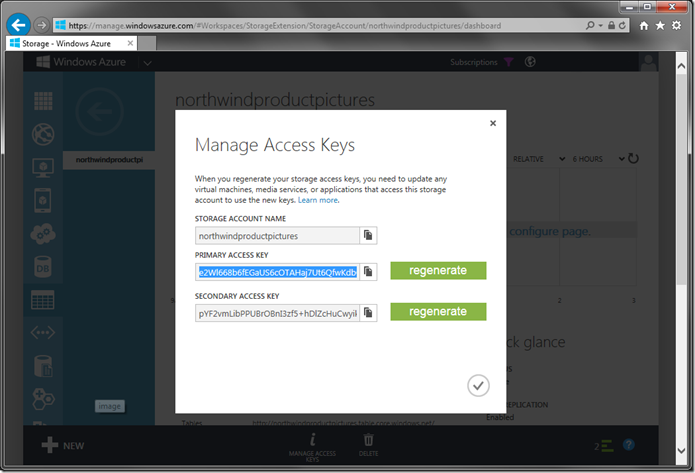 Viewing Access Keys for Azure Storage account.
