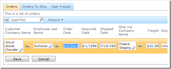 Order date of an order is changed.