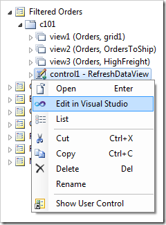 Edit the user control in Visual Studio via the context menu option in the Project Explorer.