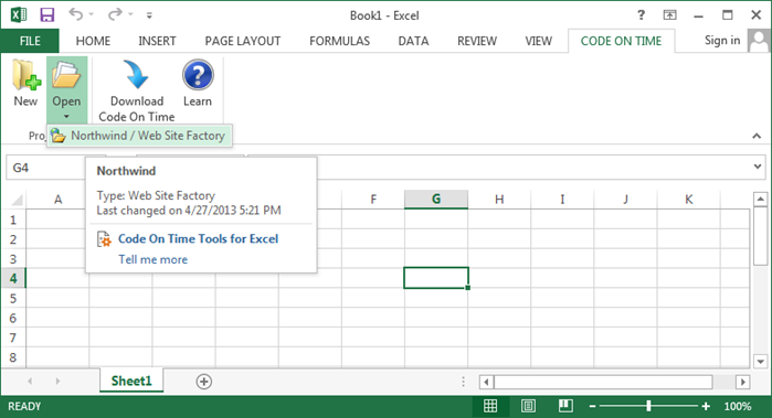 Opening a project in Tools for Excel.