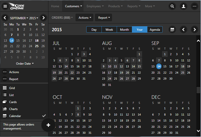 Year mode provides a great summary of events in the database when displayed in Calendar view style of an app created with Code On Time line-of-business database app generator.