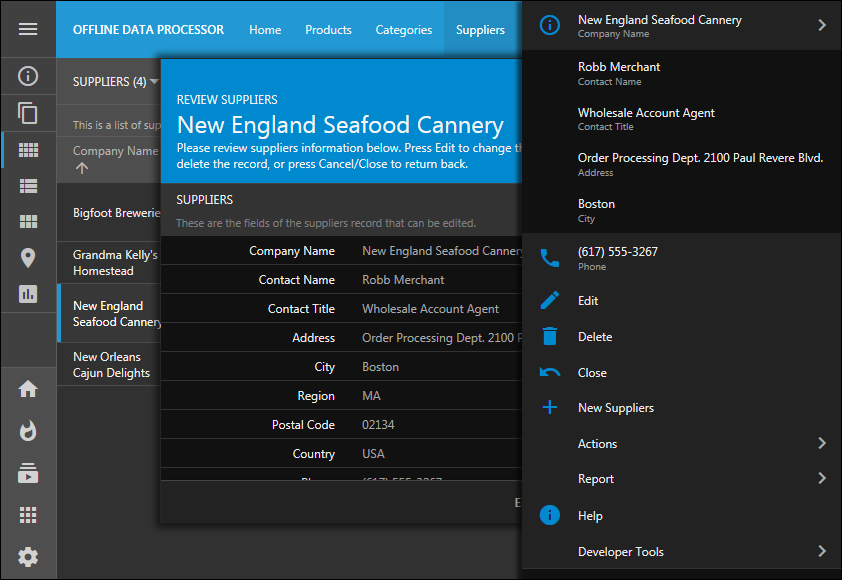 Dark theme with Aquarium accent in the app created with Code On Time.  The form is open and context menu of the form is also visible.